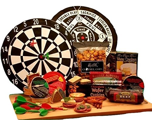 Dart Board and Gourmet Cheese Gift Set | Great Gift for Holidays, Birthdays, or Father's Day! (Fathers Day Baskets)