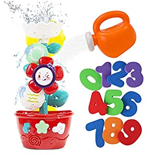 STEAM Life Flower Bath Toys for Toddlers 3-4 Years|Waterfall Bathtub Toys Bundle Comes with Toy Watering Can and Foam Numbers 1 - 9 | Waterfall Flower Baby Bath Toy for Girls and Boys