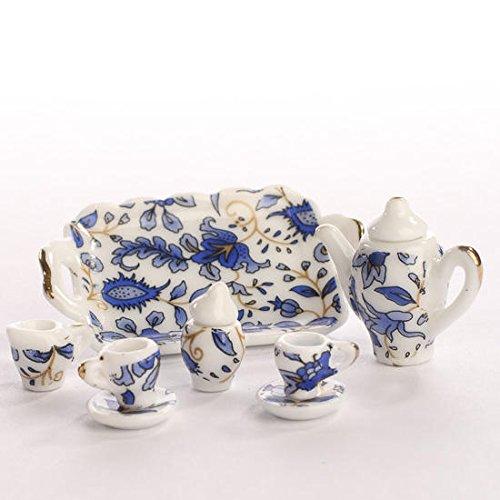 Miniature Elegant Blue Floral Painted Ceramic Tea Set by Dainty (Miniature Ceramic Tea Set)