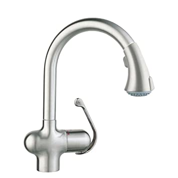 Grohe 33755SDE Ladylux Cafe Single Handle Pull Down Sprayer Kitchen Faucet  In Stainless Steel