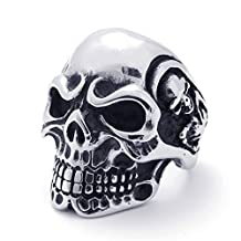 TEMEGO Jewelry Stainless Steel Ring, Vintage Gothic Skull Band, Black Silver