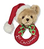 Bearington Baby's 1st Christmas Plush Soft Ring Rattle, 5.5
