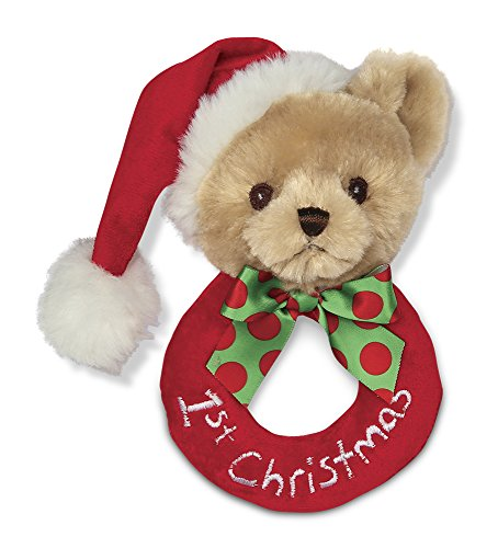 Bearington Baby's 1st Christmas Plush Ring Rattle 5.5""