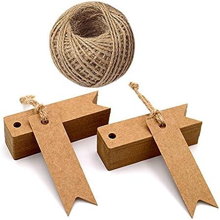 Etiquetas de regalo mini, Etiquetas de regalo de papel Kraft de 100 piezas con cadena de 30 m, etiquetas de artesanía de 7 cm x 2 cm Etiquetas colgantes para bodas (marrón)