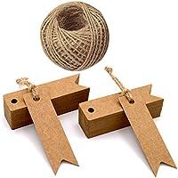 Etichette per regali in carta kraft con cordicella, taglia mini (7 x 2 cm), adatte per matrimoni, colore marrone, in confezione da 100, con 30 m di spago di iuta (Marrone)