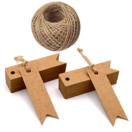 100Pcs Kraft Paper Tags with String,Craft Gift Tags,Mini Size 7cm x 2cm Wedding Brown Hang Tags with 30 Meters Jute Twine (Brown)