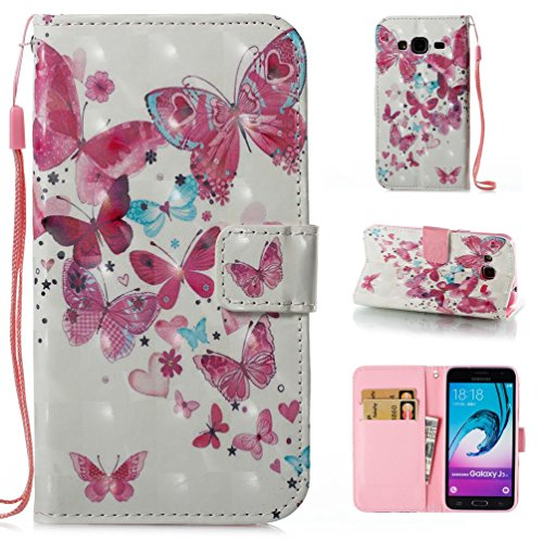 Galaxy J310 / J3 Case,Firefish Galaxy Amp Prime Case, Galaxy Express Prime Case,Slim Fit Folio Book Cover 3D Painted Flip Wallet Case ID&Credit Card Pockets for Samsung J310 / J3-Butterfly group