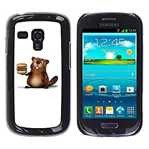 LECELL -- Funda protectora / Cubierta / Piel For Samsung Galaxy S3 MINI NOT REGULAR! I8190 I8190N -- Friendly Beaver Burger --
