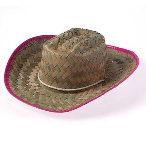 CHILDREN'S WOVEN COWGIRL HAT WITH PINK TRIM, SOLD BY 24 PIECES