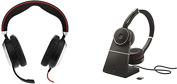 Amazon Com Jabra Evolve 80 Professional Stereo Noise Cancelling Wired Headset Music Headphones Ms Bundle With Jabra Evolve 75 Stereo Uc Charging Stand Link 370