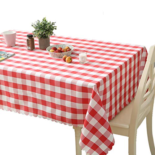 youta Checkered Tablecloth Rectangule Table Cloth Picnic Washable Polyster 60x84 Inch Table Cover Red for Party Dinner