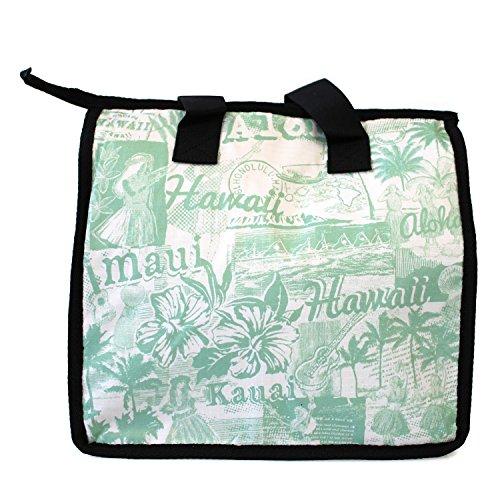 (Hawaiian Print Thermal Insulated Zipper Lunch Bag Classic Hula Girl Ukulele Palms Aloha Green Large )