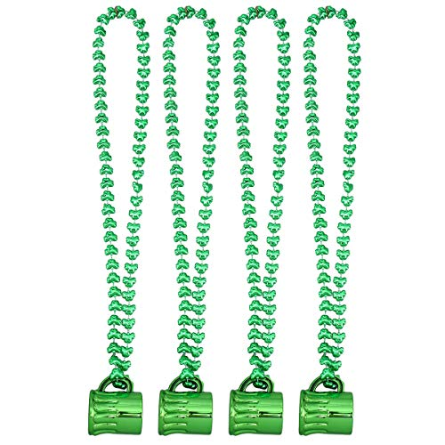 BESTOYARD Saint Patrick's Day Cup Necklace Clover Pendant for Irish Festival St. Patrick's Party Supplies 4 Pcs 12 Years Irish Wine