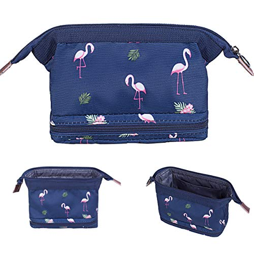 - Makeup Bag/Travel Cosmetic Bags/Brush Pouch Toiletry Kit Fashion Women Jewelry Organizer with Zipper Make Up Carry Case Pencil Holder Portable Cube Purse (Navy Blue Flamingo)