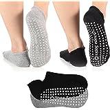 Yoga Socks for Women Non-Skid Socks with Grips Anti-Skid Pilates Socks (2 Pairs Black & Grey)