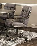 Caster Chair Company Garrett Swivel Tilt Caster Arm Chair in Smoke Tweed Fabric