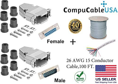 (CompuCablePlusUSA.com Best Set DB15 Male/Female Solder Type Connector Kits w/Metal Hood+ D-Sub Male/Female Pins+Strain Relief Grommet+26 AWG 15-Conductor Shielded Cable 100ft Complete Bundle Set)