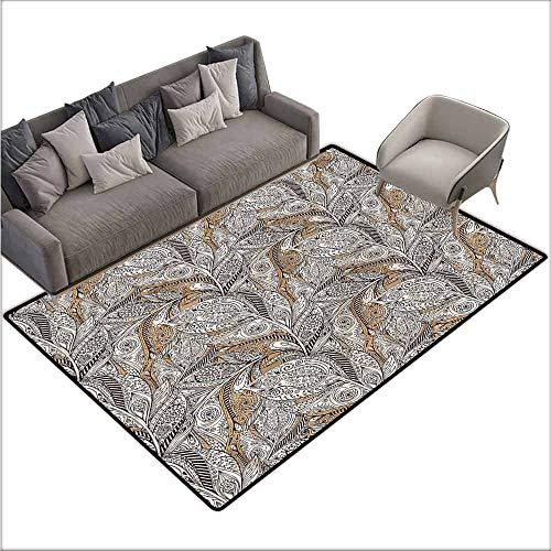 - Polyester Non-Slip Doormat Rugs Colorful Paisley,Vintage Plant Pattern Batik 48