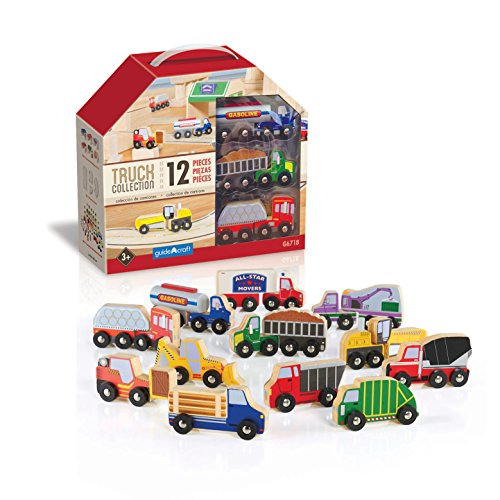 Guidecraft Wooden Truck Collection Set of 12 - Kids Toy