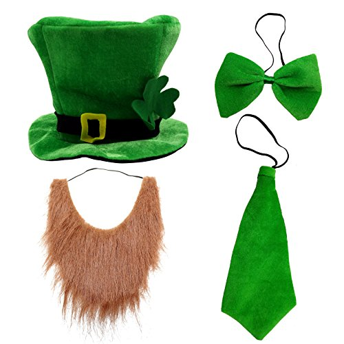 CreepyParty St. Patrick's Day Party Costume Suit Hat, Bow, Bow Tie, Beard, Scarf (Hat, Beard, Tie, Bow tie) -