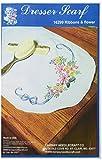 Fairway 16299 Dresser Scarf, Ribbons and Flower Design, White, Perle Edge