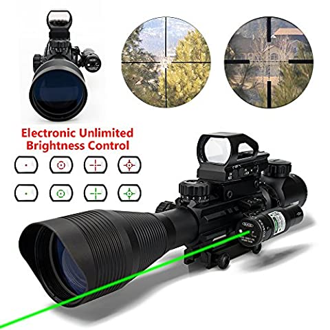 Aipa Tactical Combo Rifle Scope 4-12x50EG Dual Illuminated and 4 Reticles Red Green Dot Sight with Electronic Control for Hunting 22&11mm Weaver/Picatinny Rail Mount (24 Month - Ar 15 Tactical Flashlights