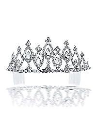 Bling Jewelry Grandeur Pear Shaped Bridal Headpiece Tiara Gold Plated