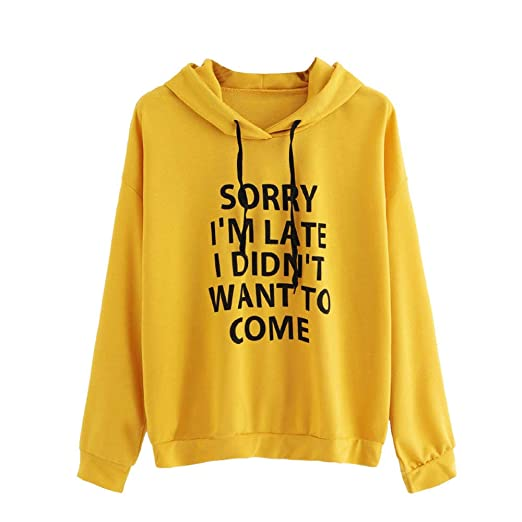 Amazon.com : Snowfoller Women O-Neck Hoodie Autumn Letter Printed