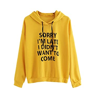 "Snowfoller Women O-Neck Hoodie Autumn Letter Printed""Sorry IM Late"""