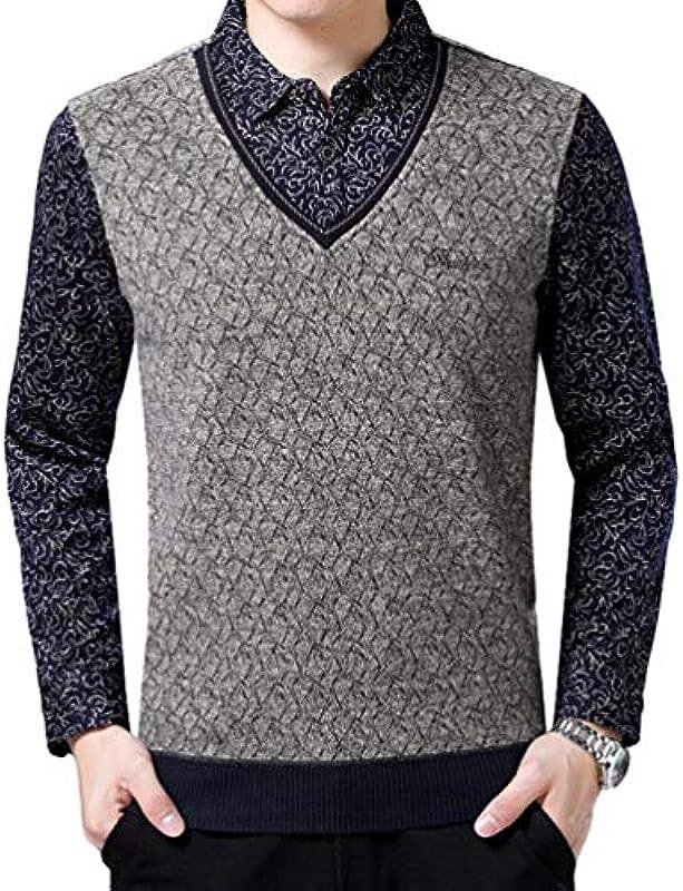 Saoye Fashion męski sweter dziergany Streetwear Menswear zima knitwear sweter z ubraniem kołnierz koszula sweter dziergany: Odzież