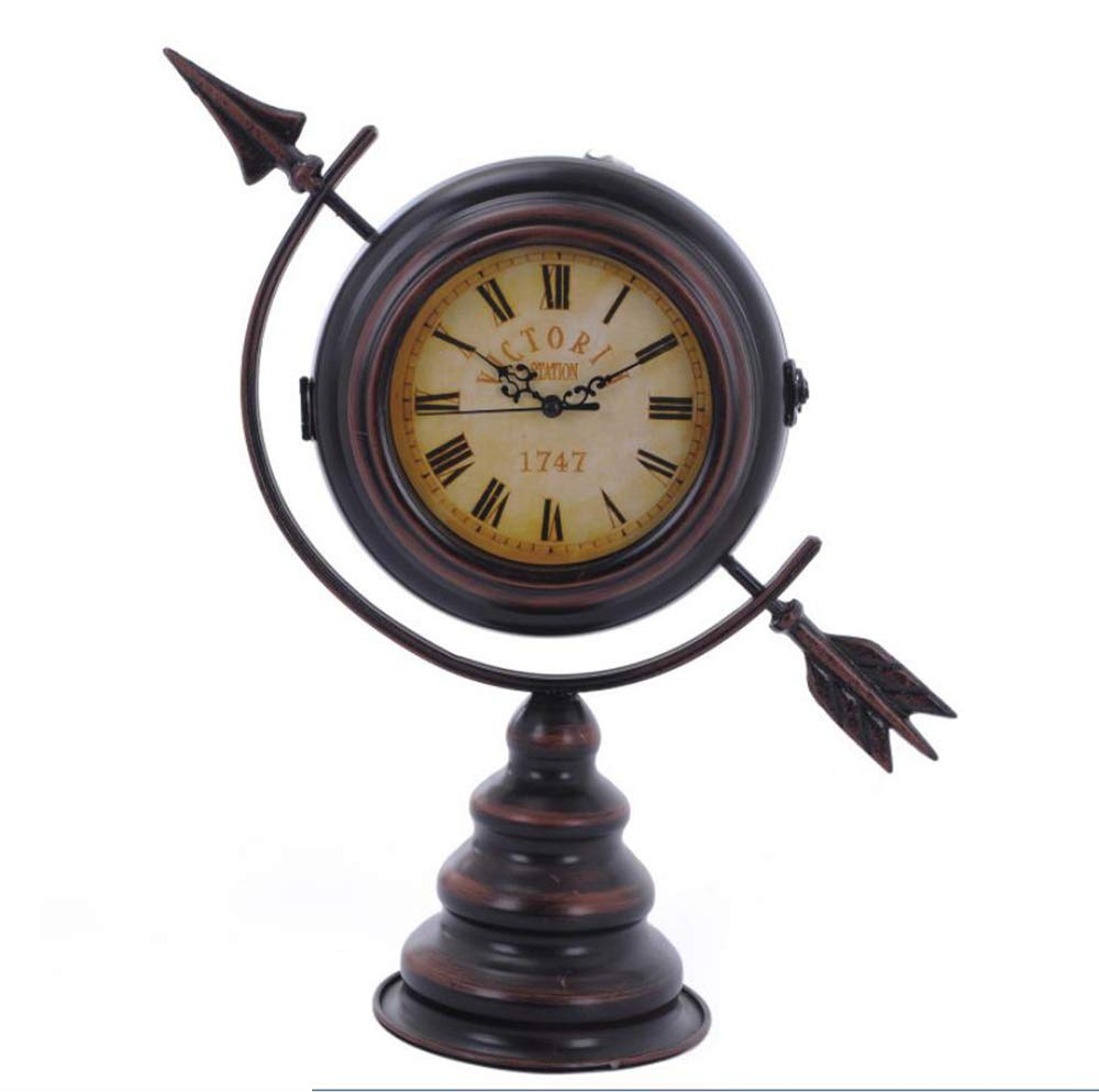 HONGGE Mantel Clocks,an Arrow Through The Heart Creative Clock Bedroom Living Room Bronze Double-Sided Decorative Clock