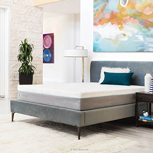 WELLSVILLE Inch Hybrid Mattress-Gel Memory Foam-Innerspring-Medium Firm Feel-10 Year Warranty, California King, Grey/White