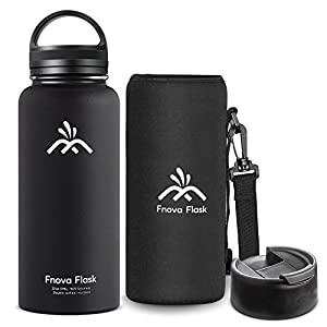32 oz Stainless Steel Water Bottle, Fnova Flask Insulated Double Walled Vacuum Thermos, Wide Mouth bouns Protective Pouch/Carry Cover and Coffee Lid, BPA-Free, Cold 24 Hrs / Hot 12 Hrs (32oz Black)