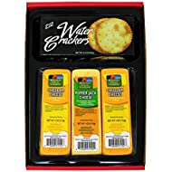 WISCONSIN CHEESE COMPANY'S | Cheese and Cracker Gift | Wisconsin Cheddar Cheese & Crackers Gift Box |100% Wisconsin Cheddar Cheese and Pepper Jack Cheese. A Great Gift Idea to Send!