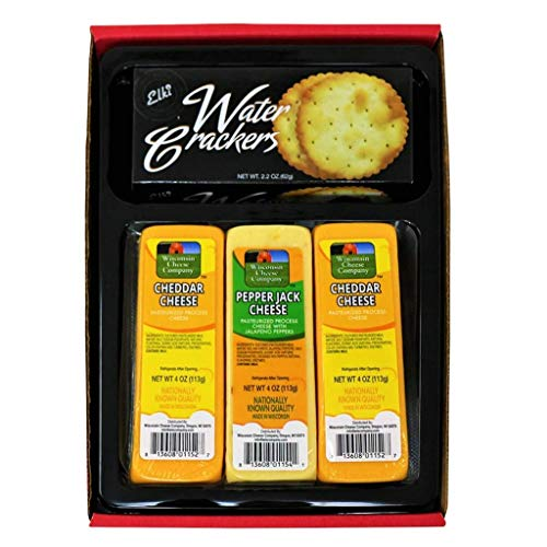 WISCONSIN CHEESE COMPANY'S, Cheese and Cracker Box, Wisconsin Cheddar Cheese & Crackers Gift Box. 100% Wisconsin Cheddar Cheese and Pepper Jack Cheese. A Great Gift Idea to Send!