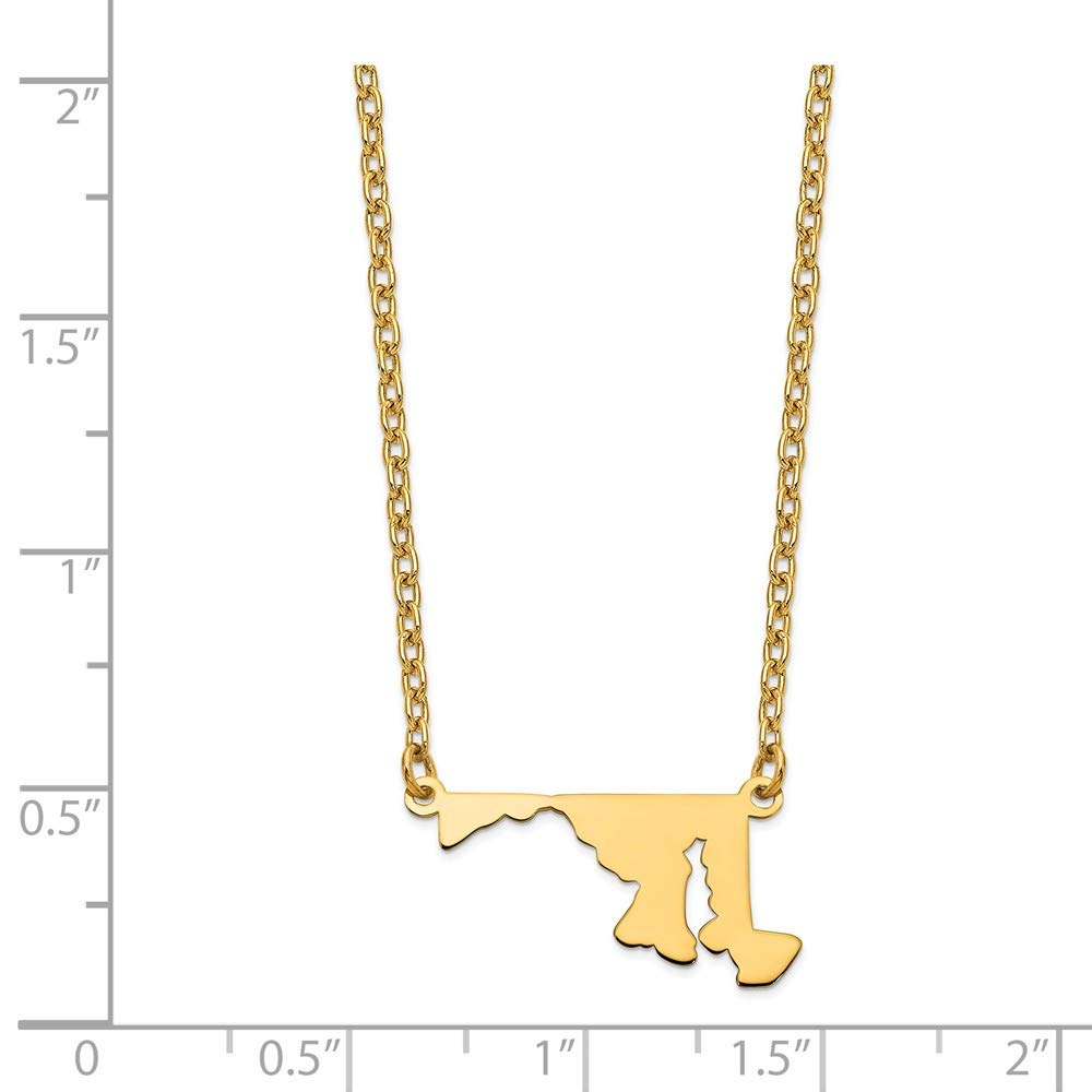 Sonia Jewels Gold-Toned MD State Pendant with Chain 23mm