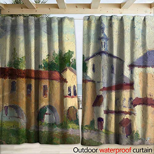 - warmfamily Outdoor Blackout Curtain Landscape Russian North Vologda Early Morning Sky Clouds Orthodox cathedrals Drapery W120 x L96
