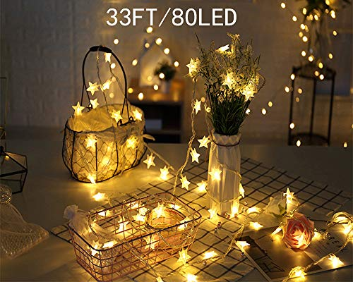 litytlen Star String Lights, 33 FT 80LED Battery Operated Fairy String Lights, Extendable for Indoor, Outdoor, Wedding Party, Christmas Tree, New Year, Garden, Warm White -