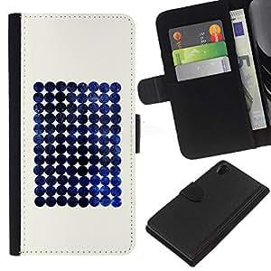 KLONGSHOP // Tirón de la caja Cartera de cuero con ranuras para tarjetas - Blueberry espacio minimalista a cuadros - Sony Xperia Z2 D6502 //