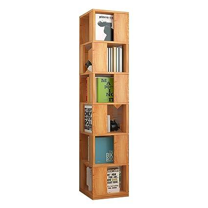 Multi Function Rotating Bookshelf Student Floor Standing Creative 6 Layer Bookcase Living