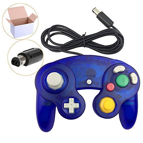 Cheap Koalud 1 Pack Classic Wired Gamepad Controllers for Wii Game Cube Gamecube console(Clear blue)