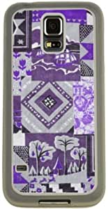 Rikki KnightTM Purple Patchwork Quilt Design Samsung? Galaxy S5 Case Cover (Clear Rubber with Bumper Protection) for Samsung Galaxy S5 i9600