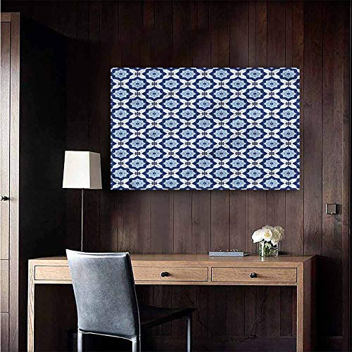 Gabriesl Self Adhesive Wallpaper for Home Bedroom Decor Indigo Oriental Floral Detail TV Backdrop Wall Size : W36 x H24