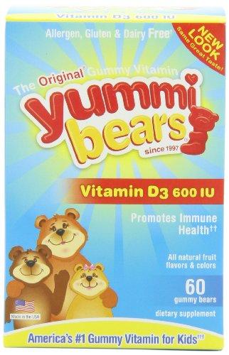 Yummi Медведи Витамин D3, 60-Count бутылки