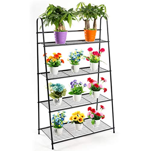 DOEWORKS 4 Tier Metal Plant Stand, Ladder-Shaped Storage Rack Stand Shelf,Shoe Organizer, Utility Storage for Indoor Outdoor Use, Black ()