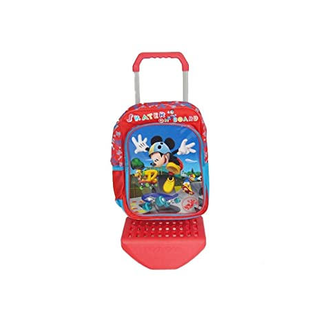 Trade Shop traesio Mochila Escolar Microfibra con Carro Trolley extraíble, 2 Ruedas, Mickey Mouse