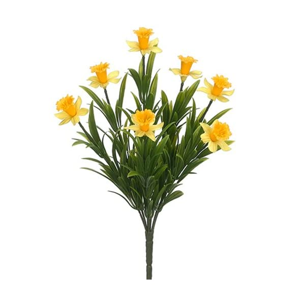 13.5″ Narcissus Daffodil Silk Flower Bush -Yellow (Pack of 12)