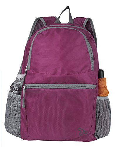 Travelon Packable Multi-Pocket Backpack, Berry, One Size from Travelon