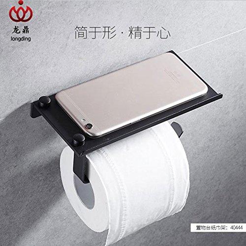 Yomiokla Bathroom Accessories - Kitchen, Toilet, Balcony and Bathroom Metal Towel Ring Built-in Shelf Aluminum Mount, Built-in Shelf Black Mobile Phone Holder