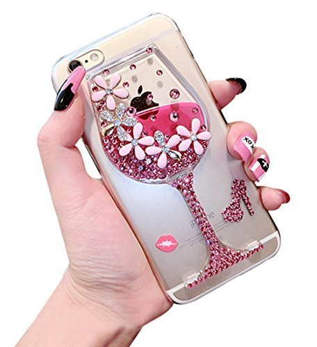 Htc Diamond Design Snap (Dreams Mall(TM)Night Style Liquid Bottle Design with Flower & Diamond Hard Case Cover Protection for Apple iPhone 6 Plus 5.5 inch-Pink)
